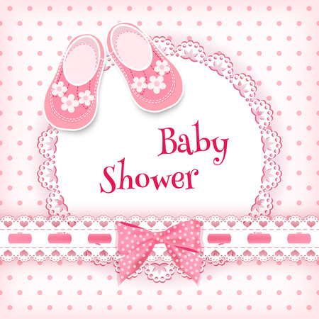 girls with bows: Baby shower card. Vector illustration.