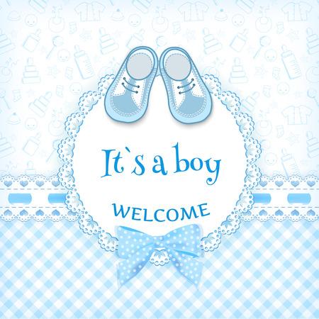 Tarjeta de la ducha del bebé. Ilustración del vector. Vectores