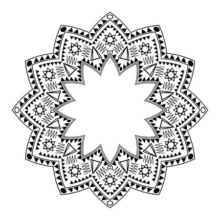 negras africanas: Ornamento círculo tribal en el fondo blanco. Vector