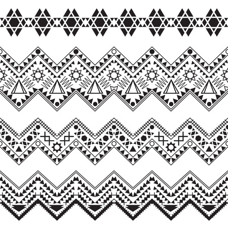 zag: Collection tribal borders. Vector illustration. Illustration