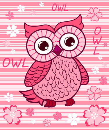 cute owl: Cute owl on the colorfull background.  Vector print for children wear.