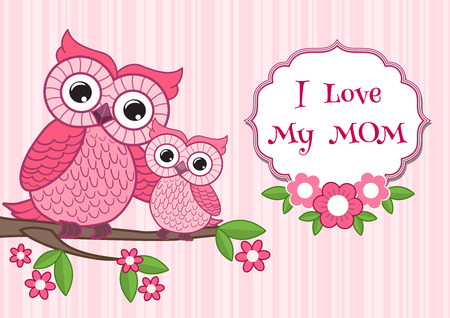 moms: Cute owl on the colorfull background.  Vector print for children wear.