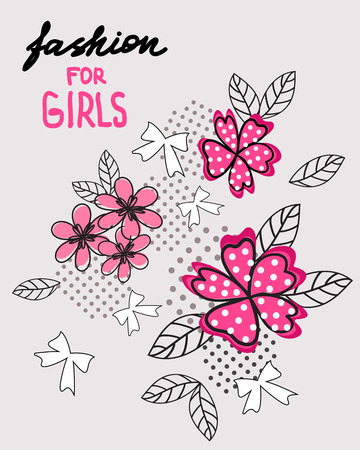 Flower and bow. T-shirt design. Fashion for girls. Vector.