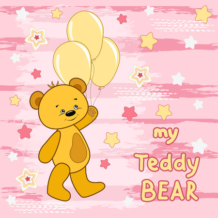 tshirts: Teddy bear on the colorfull background.  Vector print for children wear. Illustration