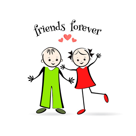 niño escuela: Happy children. The best friends. T-shirt design. Vector illustration.