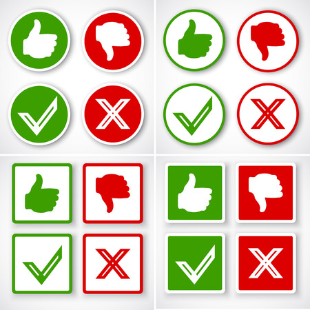 thumbs down: Yes, No, Thumbs up and down icons Like and unlike symbol. Vector