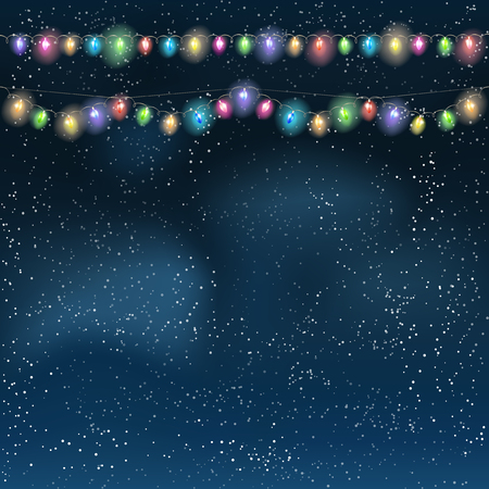 christmas lights: Christmas light garland on the night sky. Vector illustration.