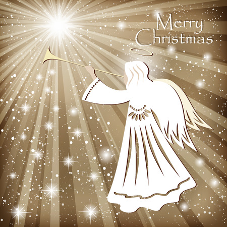 stars sky: Christmas card. Angel and the sparkling stars in the night sky. Vector illustration Illustration