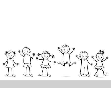 eye drawing: Group of happy children. Vector illustration.