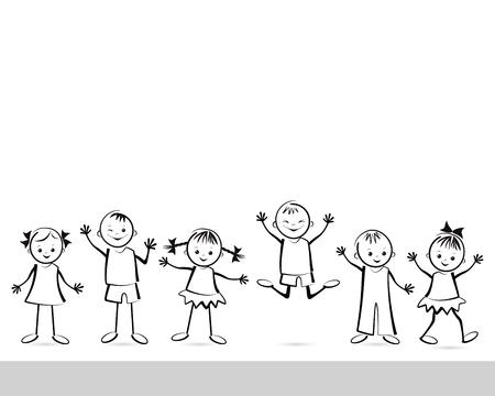 Grupo de niños felices. Ilustración del vector.