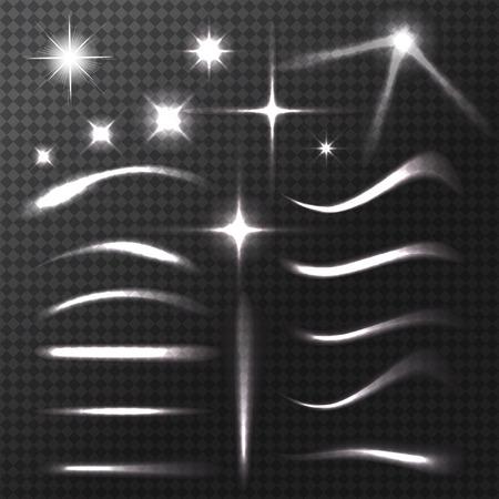 estrella: Efectos de transparencia. Lens luces de bengalas de estrellas y estrellas brillantes, luces y destellos en el fondo transparente. Ilustración del vector. Vectores