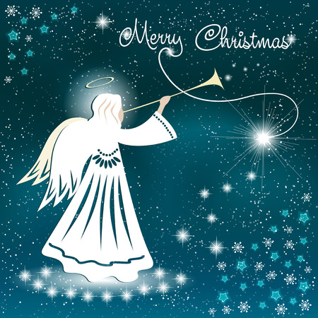 Christmas card. Angel and the sparkling stars in the night sky. Vector illustration Illustration