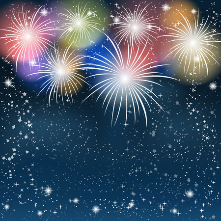 Fireworks colorful background. Vector illustration.