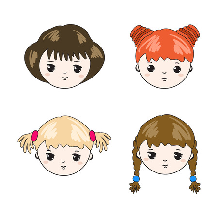 tress: Cute childrens faces. Set. Vector  illustration.