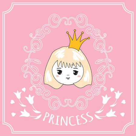 Cute little princess. Vector illustration.