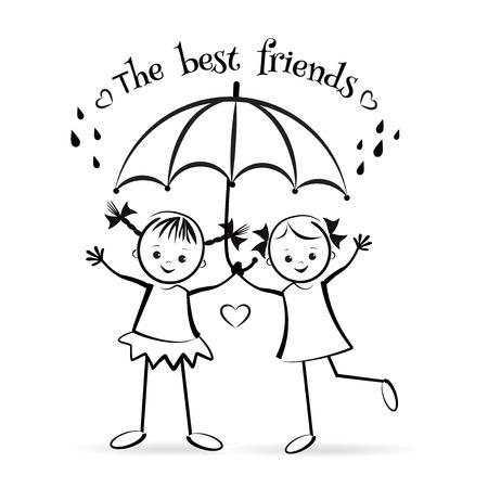 mejores amigas: Felices los niños. Los mejores amigos. diseño de la camiseta. Ilustración del vector.