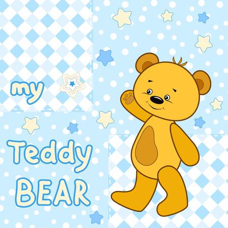 t shirt print: Teddy bear on the colorfull background.  Vector print for children wear. Illustration