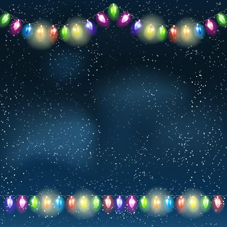 blue card: Christmas light garland on the night sky. Vector illustration.