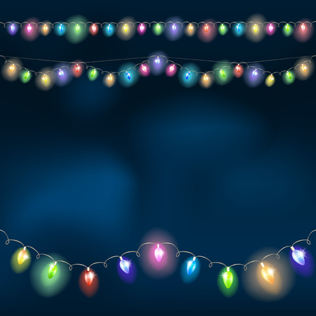 holiday light: Christmas light garland on the night sky. Vector illustration.