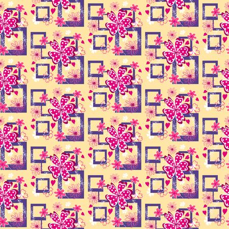 girlie: Vivid flowers on the colorful background. Vector illustration.