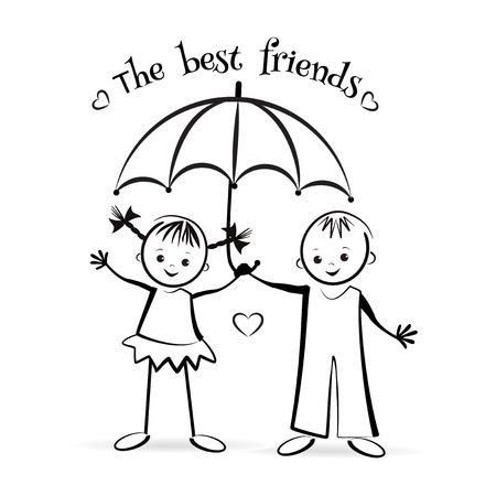 best friends forever: Happy children. The best friends. T-shirt design. Vector illustration.