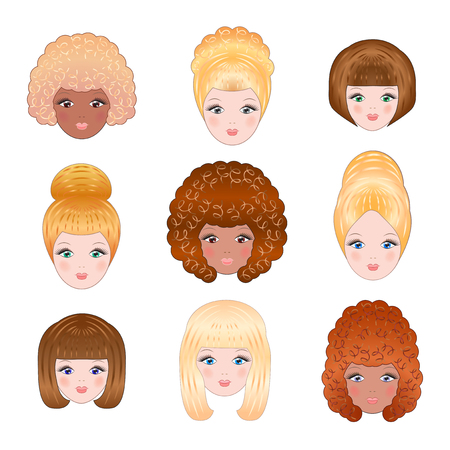 brunet: Collection of various faces of girls for avatars on a white background. Vector illustration. Illustration