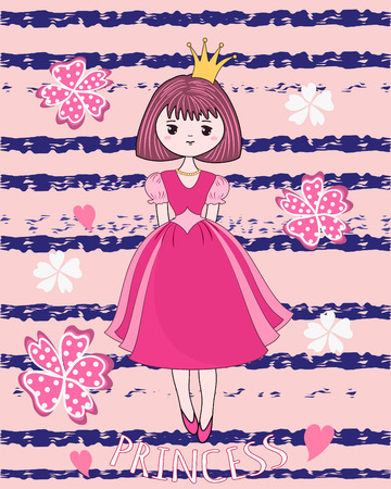 princess dress: Cute princess on the flower background. T-shirt design. Vector illustration.