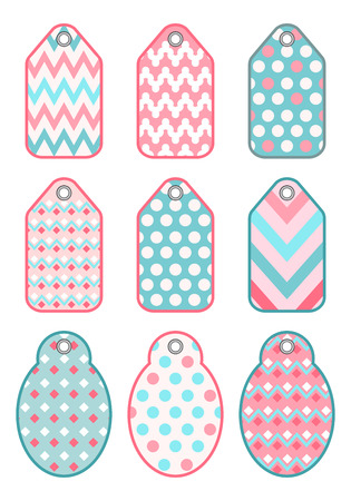 scrap: Set colorful tags for design and scrapbooking. Vector. Illustration
