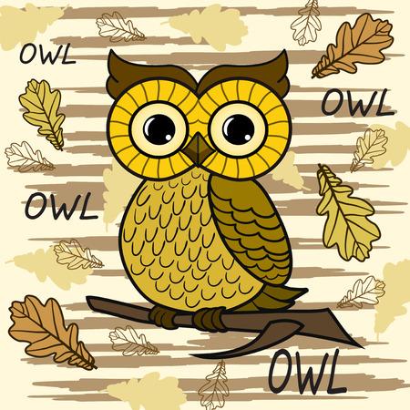 owl: Cute owl. Vector print for children wear.