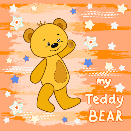 tshirts: Teddy bear on the colorful background. Vector print for children wear.