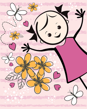 girl illustration: Cute young girl with flowers. T-shirt design. Vector illustration. Illustration