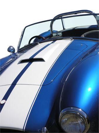 Blue & White car         Stock Photo