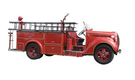 engine fire: vintage fire truck  Stock Photo
