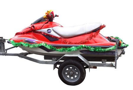 jetski: A red jetski with Christmas decorations