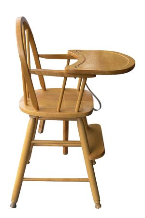 Wooden Babys Highchair isolated with clipping path        Stock Photo