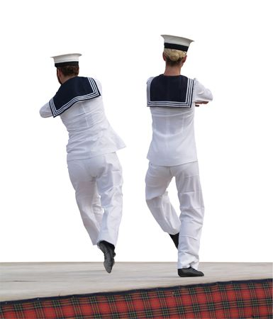 Two Boys Dancing the Hornpipe Isolated photo