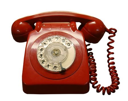 Vintage red phone isolated with clipping path