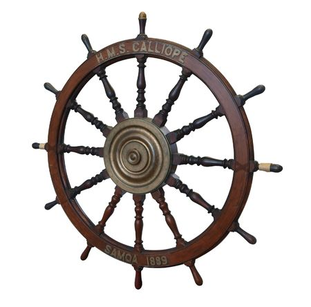 scrapped: Wheel from the HMS Calliope a Calypso class screw corvette. She was launched in 1884 & scrapped in 1951