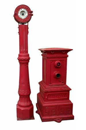 firealarm: Antique fire alarm and hydrant