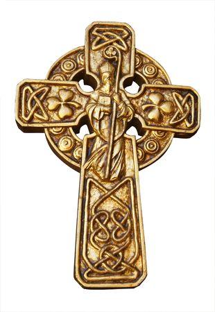 Celtic Cross with st Patrick &amp, Shammrocks  photo