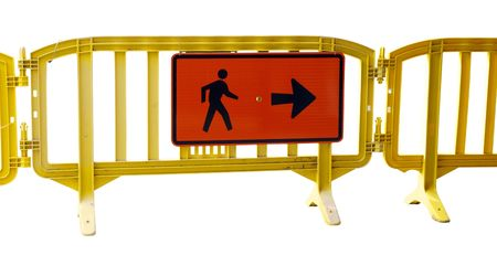 obstruct: Street Barracade with pedestrian directions Isolated with clipping path       Stock Photo