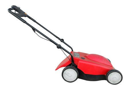 Electric Lawn Mower isolated with clipping path      Stock Photo