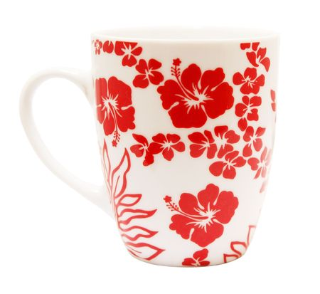 Hibiscus Covered Mug isolated with clipping path Stock Photo - 3400816