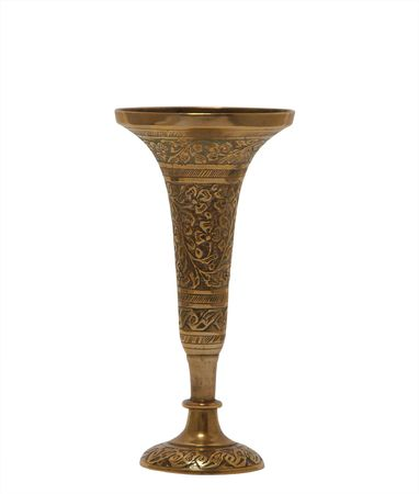 Brass vase isolated with clipping path     photo