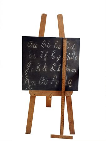 Old Blackboard and Ruler isolated with clipping path        Stock Photo - 3728827