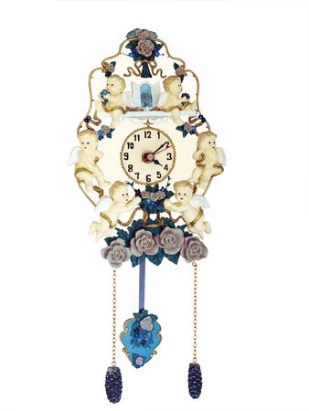 cherubs: Antique Clock with Cherubs isolated with path Stock Photo
