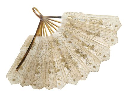 chinese fan: Antique fan isolated with path Stock Photo