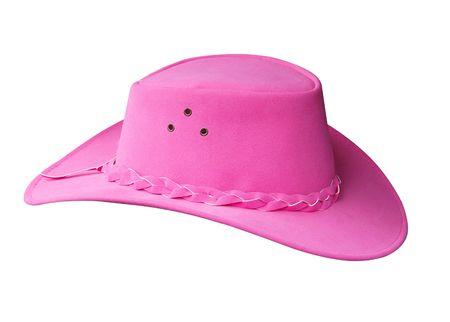 cowgirl hat: Suede Pink Cowgirl Hat aislados con saturaci�n camino Foto de archivo