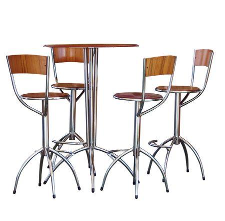 Four Tall Bar Stools at a Table