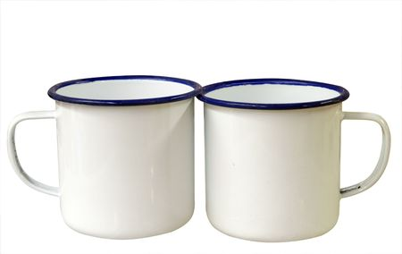 Two Enamel Mugs isolated Stock Photo - 4589944